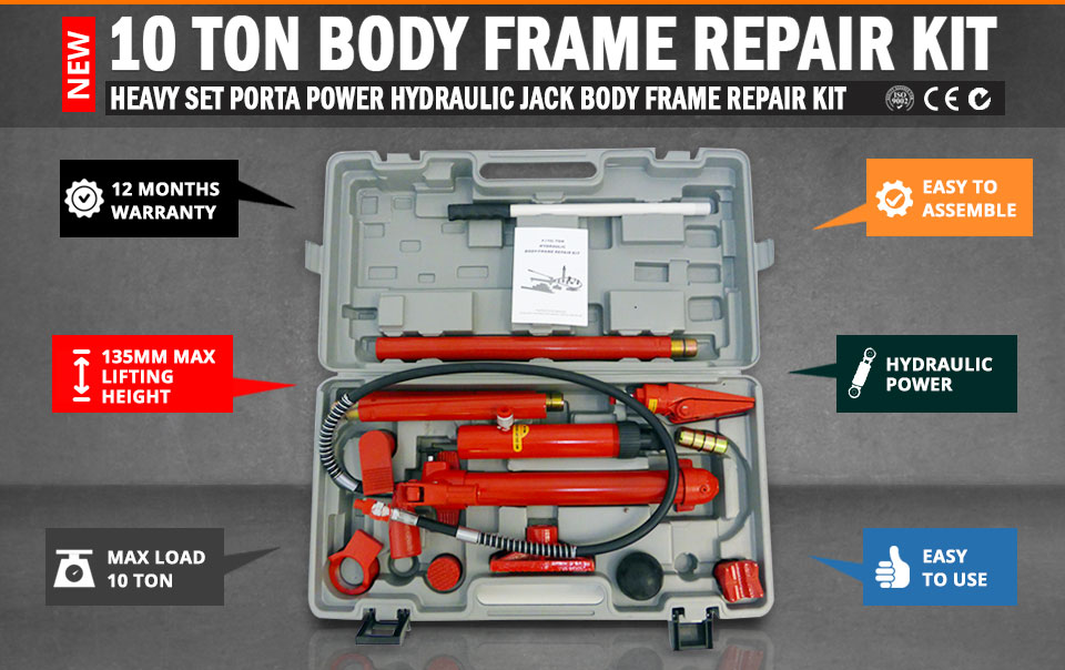 10 Ton Porta Power Hydraulic Jack Body Frame Repair Kit Auto Shop Tool Heavy Set Ushirika Coop