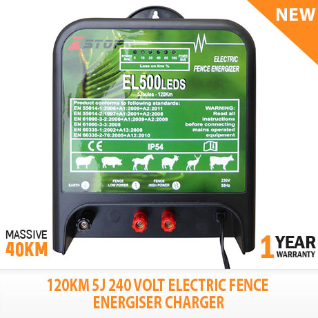 New 120km Electric Fence Energizer Enegiser Charger 5j