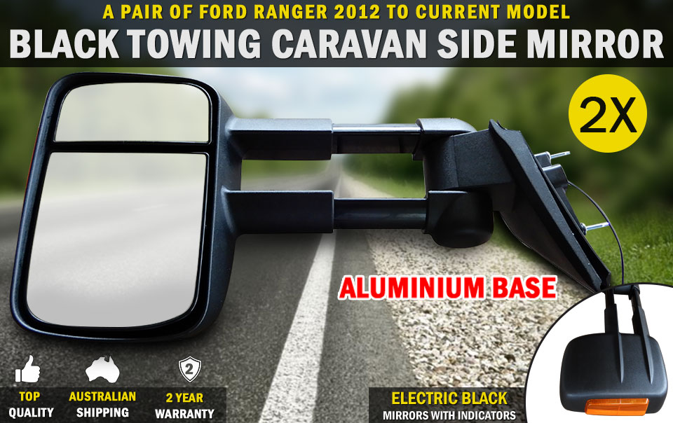 New Black Electric Towing Caravan Side Mirrors Pair Ford