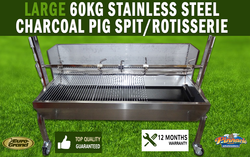 Diagram Large Stainless Steel 60kg Charcoal Pig Spit Rotisserie