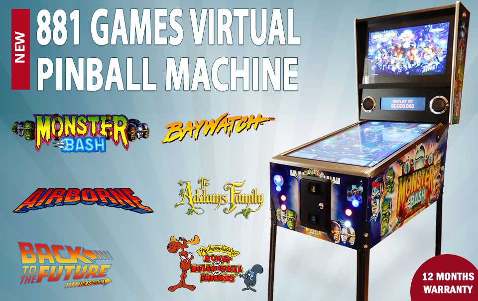 Details about NEW 881 Games Virtual Pinball Machine Monster Bash Decals  Coin Mechanism