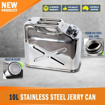New Stainless Steel 10 litre / 2.6 US Gal, Jerry Can with Screw Top