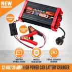 12 Volt 20 Amp High Power Automatic 7 Stage Car Battery Charger