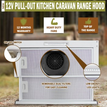 RV 12V Stainless Steel Pull Out Kitchen Caravan Range Hood For Motorhome