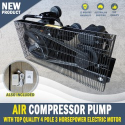 NEW 12CFM AIR COMPRESSOR PUMP & 3hp ELECTRIC MOTOR FULL SETUP MINUS TANK
