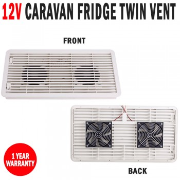 12V Caravan RV Fridge Vent Twin Fan Dometic Thetford 3 Way Fridges