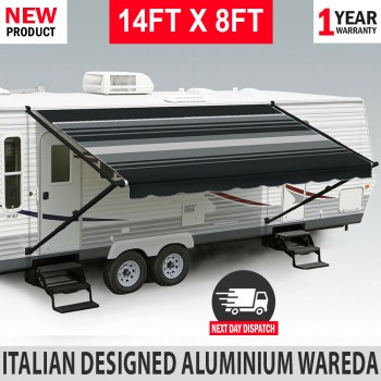 14FT X 8FT Electric Caravan Black Awning Roll Out Italian Designed RV