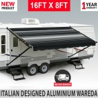 16FT X 8FT Electric Caravan Black Awning Roll Out Italian Designed RV