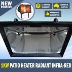1kW Patio Heater Radiant Infra-Red Outdoor Wall Garden Decking Alfresco