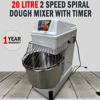 New Commercial 20 Litre 2 Speed Spiral Dough Mixer With Timer Pizza Bakery Bread