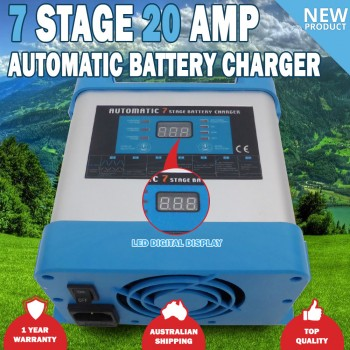 7 Stage 20 amp Fully Automatic Caravan Battery Charger Suits 20 to 200Ah