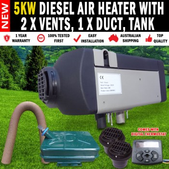 5KW 24Volt Diesel Air Heater with 2 x Vents, Duct & Tank For Caravan, RV etc