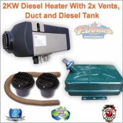 Planer 2KW Caravan,Camping Motor Home Diesel Heater with 2 x Vents & 2 x Ducts