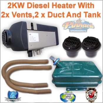 Planer 2KW Caravan Motor Home Diesel Heater with 2 x Flat Vents, 2 x Duct And Metal Tank