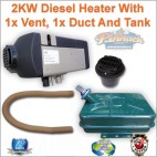 2KW Diesel Heater with 1 x Vent, 1 x Duct And Tank
