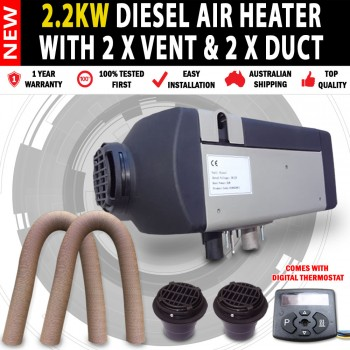 2.2KW Caravan,Camping Motor Home Diesel Heater with 2 x Flat Vents & 2 x Ducts