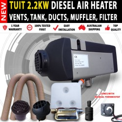 NEW Tuit 12V 2.2KW Diesel Air Heater Tank with Vent, Duct & Thermostat Motorhome