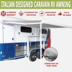 NEW Caravan Awning Roll Out 3.5m X 2.5m NEW Italian Designed Aluminium Alloy