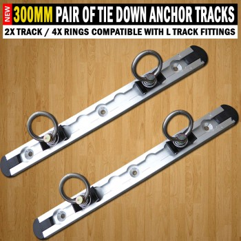 300mm Anchor Track (2x Track / 4x Rings) Tie Down Trailer Caravan Float
