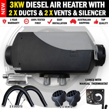 3KW Belief Caravan Diesel Air Heater 2 x Vents Ducts 1 x Silencer RV Bus