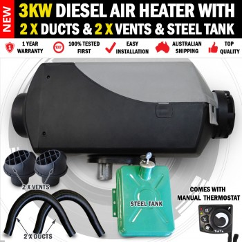 3KW Belief Caravan Diesel Air Heater 2 x Vents Ducts 1 x Steel Tank RV Bus