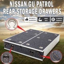 Nissan GU Patrol Rear Steel Frame Storage Drawers Fridge Slide Drawer