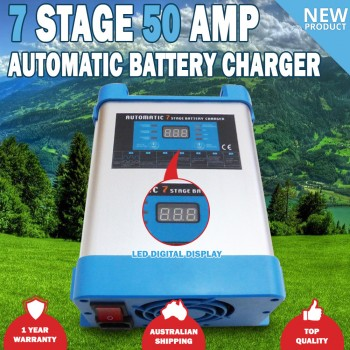 7 Stage 50 AMP Fully Automatic Caravan Battery Charger Suits 40 to 300Ah