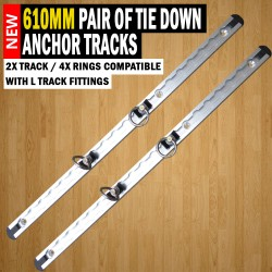 610mm Anchor Track (2x Track / 4x Rings) Tie Down Trailer Caravan Float