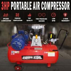 Belt Driven 3 horse power 12CFM Air Compressor Portable 300L/min 80Lt Tank