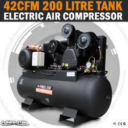 Large Commercial Air Compressor 200 Lt Tank 42CFM 3 Cylinder 10HP, 3 Phase