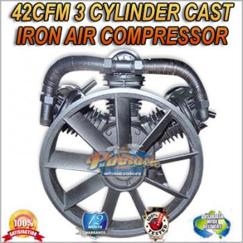 42CFM 3 CYLINDER FULL CAST IRON 140PSI AIR COMPRESSOR PUMP