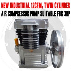 INDUSTRIAL 12CFM TWIN CYLINDER AIR COMPRESSOR PUMP SUITABLE FOR 3HP