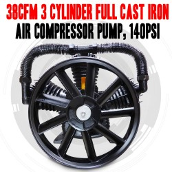 38CFM 3 CYLINDER FULL CAST IRON AIR COMPRESSOR PUMP, 140PSI