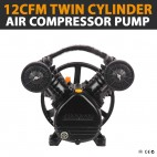 NEW INDUSTRIAL 12CFM TWIN CYLINDER AIR COMPRESSOR PUMP SUITABLE FOR 3HP