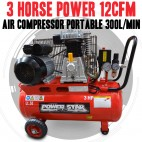 Belt Driven 3 horse power 12CFM AirCompressor Portable 300L