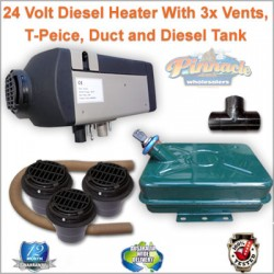 5KW 24 Volt Diesel Heater with 3 x Vents, T-Peice, Duct and Diesel Tank