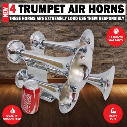 Train, Truck horn 12v & 24 volt 4 trumpet air horns Loudest 159db Available