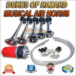 MUSICAL DUKES OF HAZARD AIR HORNS, AIRHORNS 12V COMPRESSOR OPERATED
