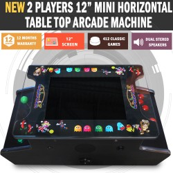 "15"" Mini Arcade Machine Tabletop Upright Cocktail Video Game Pinball Pool"