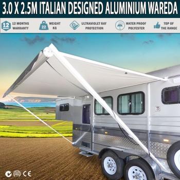 Caravan Awning Roll Out 3.0m x 2.5m NEW Italian Designed Aluminium Wareda