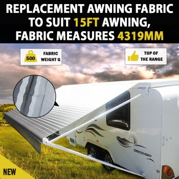 NEW 15 Ft Awning  Replacement Caravan Roll Out Awning PVC Vinyl Fabric Carefree