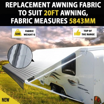 NEW 20 Ft Awning  Replacement Caravan Roll Out Awning PVC Vinyl Fabric Carefree