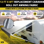 12 Ft Replacement Caravan Roll Out Awning PVC Vinyl / Fabric Carefree Canvas