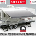 NEW 18FT Caravan Awning Roll Out 18FT X 8FT Italian Designed Aluminium Wareda