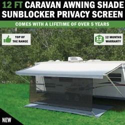 12 FT Caravan Awning Shade Sun Blocker Privacy Screen Suit Fits All