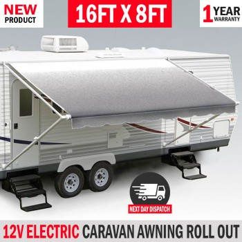 16FT X 8FT Electric Caravan Awning Roll Out Italian Designed RV