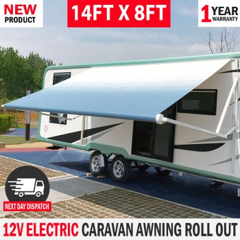 NEW Electric Awnlux Caravan Awning Roll Out 14FT X 8FT Italian Designed RV