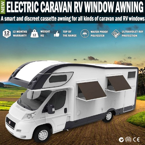 Electric Caravan Rv Window Awning Remote 2m Wide Italian