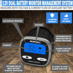 Aopec 12v Dual Battery Monitor Management System 250A Motor Home Marine