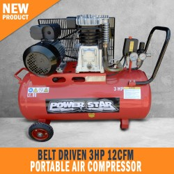 NEW BELT DRIVEN 3HP 12CFM AIR COMPRESSOR PORTABLE 300L/MIN 80LT TANK WITH HOSE REEL